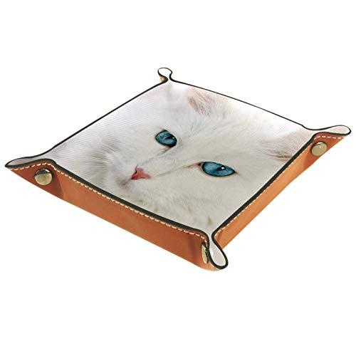 YATELI Caja de Almacenamiento pequeña, Bandeja de Valet para Hombre,Gato con Ojos Azules,Organizador de Cuero para Llaves de Caja de Monedas