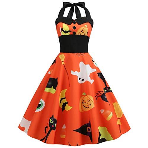Suitray Damen Plissee Kleid Halloween Retro Hepburn Kleid Comic Kürbis Geist Spinne Muster Halloween Kostüm Abendkleid Halloween Party Kleid Clubkleid A-Linie Kleid Bustier Kleid Dekolletiert Kleid