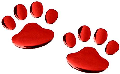 PRESKIN – 3D Pfote Rot Hochglanz Aufkleber Selbstklebende Metall-Optik Relief-Sticker Decal für Auto, KFZ, Motorrad, Roller, Notebook, Haustür, Kühlschrank …