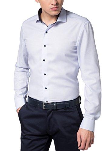 eterna Langarm Hemd Slim FIT strukturiert, Hellblau, W40 Langarm