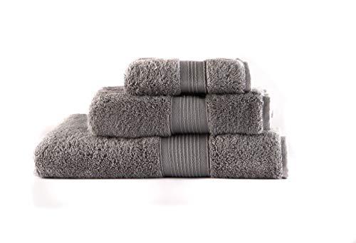 Toallas Premium 100% algodón, Tacto Ultra Suave, sin Productos químicos, lujosas y absorbentes de Secado rápido, 600 gr/m2. Juego de 3 Unidades (140x70 – 100x50 – 50x30 cm) (Gris Stone)