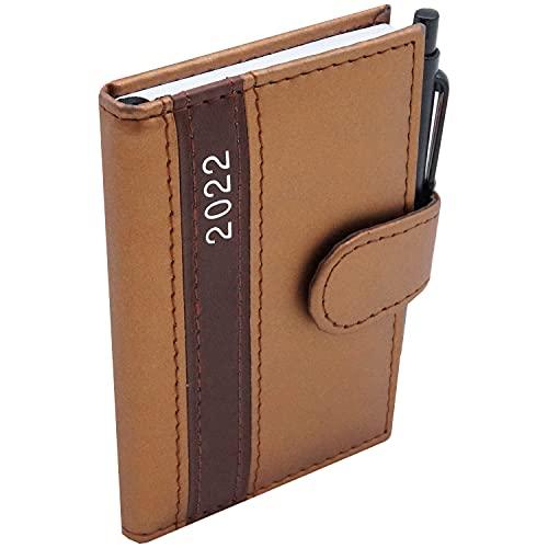 2022 Taschenkalender A7 mit Kugelschreiber und Halterung Business Terminplaner mit Stift Organizer Timer Kalender (Gold)