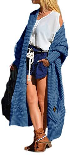 Damen Strickjacke Pullover Cardigan Langarm Oversize 36 38 40 S M L (658) (Jeans)