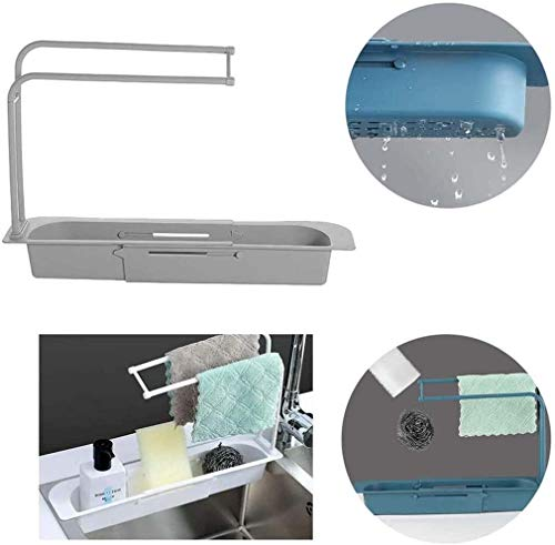 Telescopic Sink Rack Holder Expandable Storage Drain Basket for Home Kitchen Kit (Gray)
