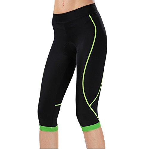 GWELL Damen Fahrradhose Radlerhose mit Sitzpolster Radhose 3/4 Komfort Slim Fit grün L
