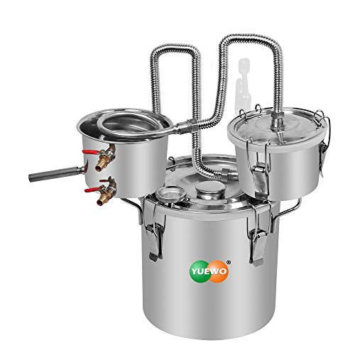 YUEWO 3 Pots DIY 5Gal/20Litres Moonshine Still Stainless Steel Water Alcohol Distiller Home Brew Wine Making Kits with Thumper Keg for DIY Brandy Whisky Wine Essential Oils