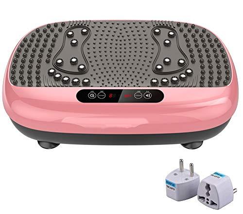 DPLQX Vibrationsplatte Fitness, Ganzkörper Vibrationsgerät Fitnessstation, Mega Fett-Verbrenner mit Fernbedienung für Home Training und Shaping,Pink