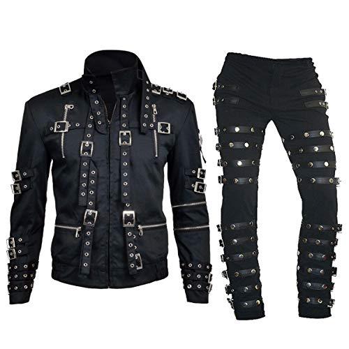 Mens King of Pop Tour Concert Bad Metal Rock Costume Black Cotton Pants