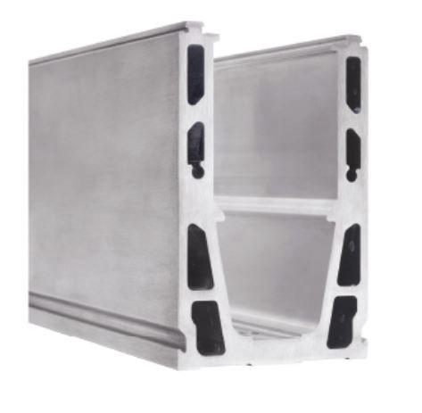 Perfil de aluminio para guardacristales – en forma de U previsto para la inserción de ventanas – Fijación vertical (colocada sobre balda) – Longitud del perfil = 2500 mm (acero inoxidable)