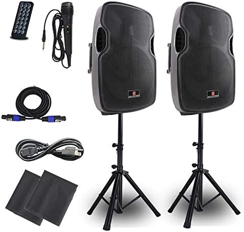 Powered PA Speakers 2 Way 15 Inch Pair Bulit in Bluetooth USB SD Card Line In and FM Radio Portable product image
