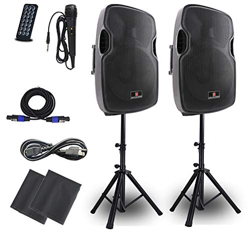 Powered PA Speakers,2-Way 15 Inch Pair Bulit in Bluetooth USB SD Card Line-In and FM Radio,Portable DJ speakers system with Wired Microphone,Standing Tripods And Remote Control.