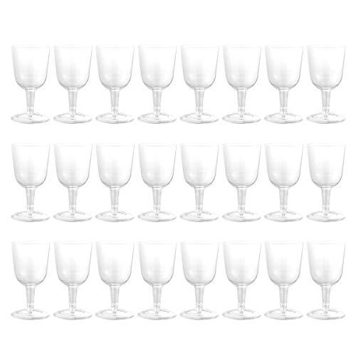 NUOBESTY 24 Piezas Vasos de Vino de plástico Fiesta Copa desechable Copas de plástico Copas de Vino Tazas
