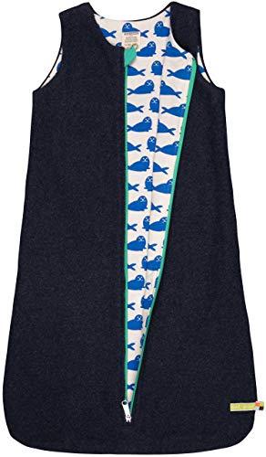 loud + proud Baby-Unisex Wendeschlafsack Fleece Aus Bio Baumwolle, GOTS Zertifiziert Schlafsack, Blau (Midnight Mi), 92 (Herstellergröße: 86/92)