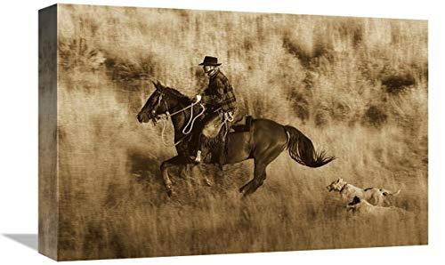 Global Gallery Caballo de Vaquero, seguido por Dos Perros, Oregon – Lienzo de Sepia, 45,7 x 30,5 cm