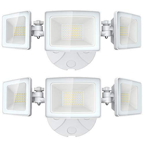 Olafus 2 Pack 5000LM LED Security Light, 50W Super Bright Outdoor Flood Lights, 3 Adjustable Heads, 6000K IP65 Waterproof Wall Mount Floodlight with Switch Controlled for Garage, Garden, Patio, Porch