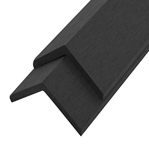 vidaXL 5x Molduras de Ángulo de Porche WPC 170cm Negro Construcción de Suelos