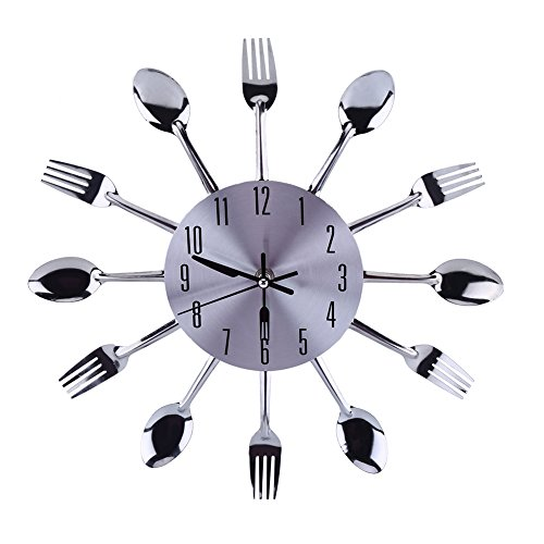Orologio da Parete da Cucina con Cucchiai e Forchette 3D Specchio Superficie Argentata Moderno Design Rimovibile per Decorazione della Casa e di Camera Ufficio Hotel, Facile da Montare