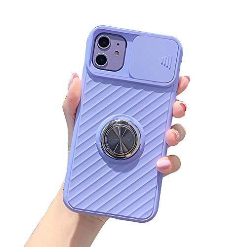 WYCcaseA Funda para iPhone 12/12 Mini/12 Pro MAX [Protección de La Cámara] con Tapa Deslizante Anti Rasguños con Soporte de Anillo (Soporte El Montaje de Coche Magnético),Púrpura,7P / 8P