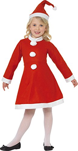 Smiffys, Kinder Mädchen Weihnachtsmann Kostüm, Kleid und Mütze, Größe: M, 38385