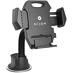 Niiom Universal Phone Mount iPhone Car Holder w/ Gooseneck arm- Strong reusable sticky gel suction cup, Adjustable clamp fit all phone models, Perfect viewing angle for safe driving, Stable and secure:Greatestmixtapes
