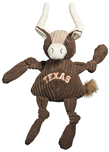 HuggleHounds Plush College Mascot Corduroy Durable Squeaky Knottie, Great Dog Toys for Aggressive Chewers, Longhorn Texas (Not Official License), Large