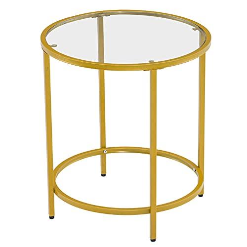 jbshop Tavolo Salotto da caffè Semplice tavolino da tavolino da caffè in Vetro Rotondo Semplice Strato Singolo tavolino da caffè (19.7 x 19.7 x 21.65in) Tavolini da Soggiorno