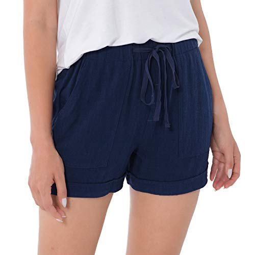 ddshijia Women Summer Shorts Drawstring Comfy Casual Workout Cotton Linen Elastic Waist with Pockets Shorts 01 Navy Blue-XL