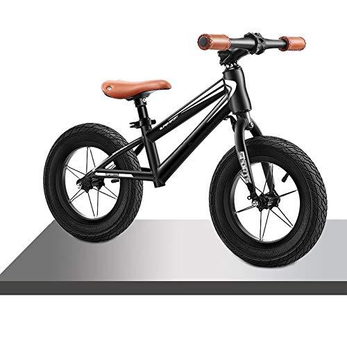Bicicleta Sin Pedales Equilibrio Grande Blanco / Negro Bicicleta de Equilibrio para Chico Niño Grande, Asiento Ajustable y Manillar Bicicleta de Entrenamiento, Sin Bicicletas de Pedales, Para 8-12 Año