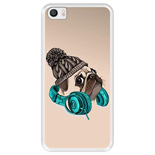 Funda Transparente para [ Xiaomi Mi5 - Mi 5 ] diseño [ Hipster Pug - Music It's my Escape ] Carcasa Silicona Flexible TPU