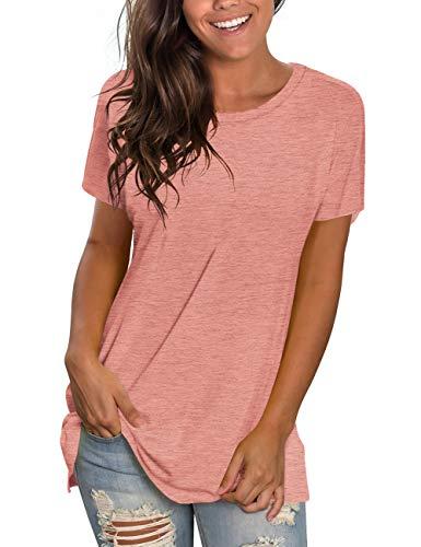 NSQTBA Summer Shirts for Women Casual Short Sleeve T Shirts for Teen Girls Basic Tees L