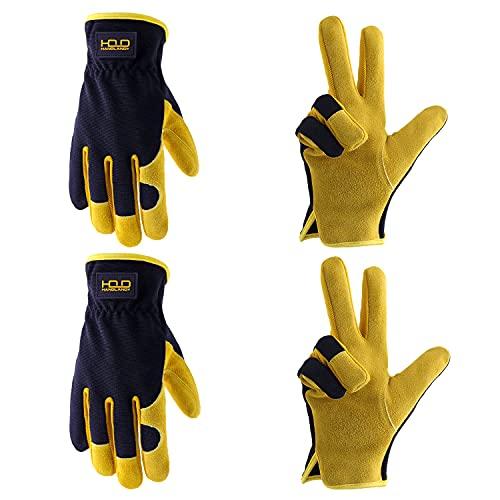 2 paia di guanti da giardinaggio in pelle bovina per uomo e donna, guanti da lavoro per giardino, conducente, costruzione (XL, giallo)