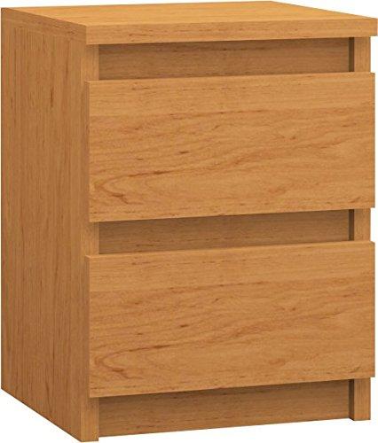 123home24.com Nachttisch mit 2 Schubladen, Erle, 30 x 40 x 30 cm