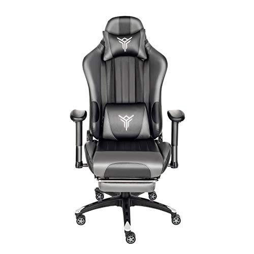 PULUOMIS Gaming Chair Massage, Grey Swivel Computer Chair with Footrest, Lumbar Support & Headrest, Adjustable Ergonomic Video Gaming Chair for Adults(Grey)