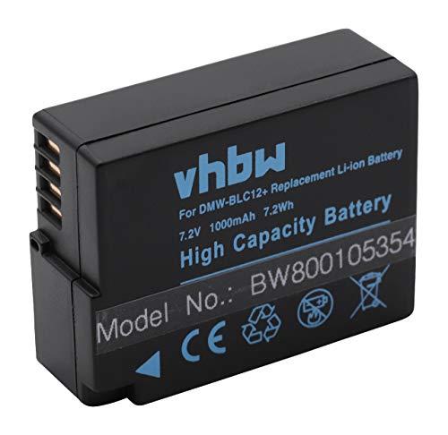 vhbw Li-Ion Akku 1000mAh (7.2V) für Kamera Camcorder Video Panasonic Lumix DMC-FZ2000 wie DMW-BLC-12, DMW-BLC12, DMW-BLC12E.