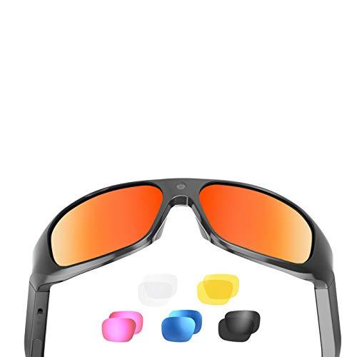 OHO 4K Ultra HD - Gafas de sol de vídeo de resistencia al agua, cámara de acción deportiva con memoria integrada de 512 GB y lentes polarizadas de seguridad UV400, diseño deportivo unisex