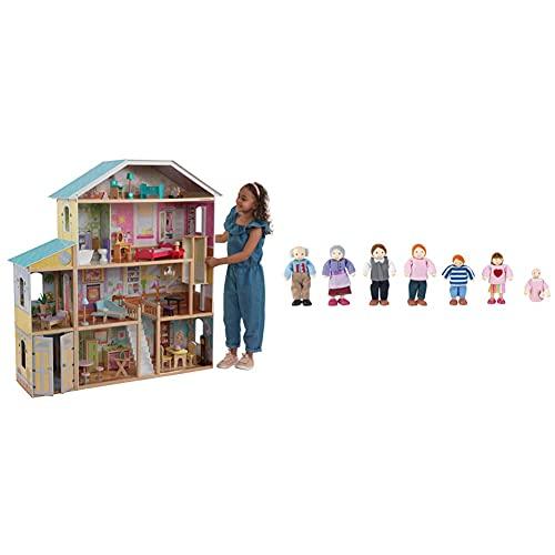 KidKraft 65252 Casa delle Bambole in Legno Majestic Mansion per Bambole di 30 Cm con 34 Accessori Inclusi & 65202 Set Famiglia di 7 12Cm in Legno, Compatibile con Qualsiasi Casa delle Bambole