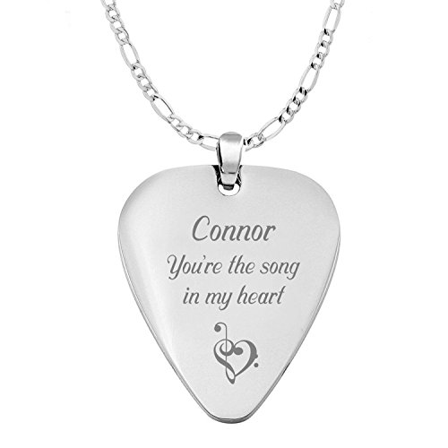 Personalized Silver Stainless Steel Guitar Pick Necklace Pendant Custom Engraved Free - Ships from USA