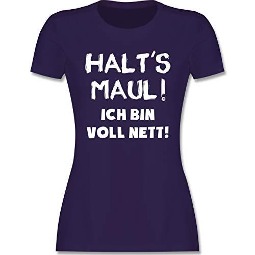 Sprüche - Halt\'s Maul ich Bin voll nett - XL - Lila - Shirts mit sprüchen Damen - L191 - Tailliertes Tshirt für Damen und Frauen T-Shirt