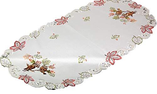 Markenlos Espamira Tischdecke 60 x 120 cm oval Creme Eule Kauz Blätter bunt gestickt Herbst Eulendecke (Tischläufer 60x120 cm)