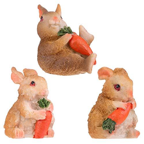 YARNOW 3 Piezas Adorno de Conejo en Miniatura Decoración de Jardín de Hadas Mini Figura Animal Casa de Muñecas Adorno de Paisaje DIY Craft Yard Bonsai Calcomanías