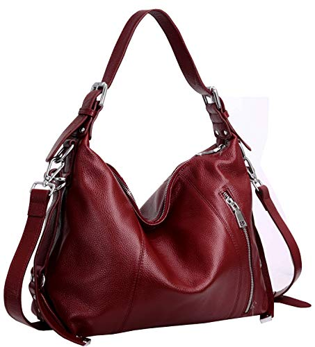Heshe Vintage Womens Leather Handbags Tote Bag Top Handle Bag Satchel Designer Purses Cross-body Bag (Wine)