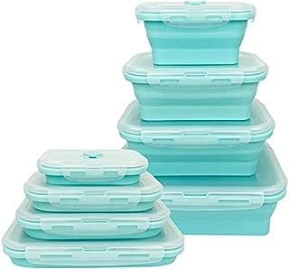 Lounaya Boîte à Lunch Pliante en Silicone 4 Pcs Support Pliable conteneurs de Stockage de Nourriture Silicone Pliable Bleu...
