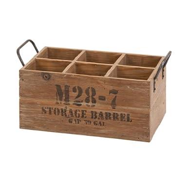 Deco 79 Wooden Barrel 6-Wine Crate