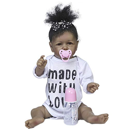 Angelbaby Doll Silicone Full Body Reborn Baby Dolls Black Girl African American Realistic Newborn Baby Mouth Open Doll for Adult Collectibles Kid Playmates (White)