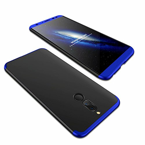 Huawei Honor 6X Hülle + Panzerglas, Lanpangzi Huawei Honor 6X 360°Schutzhülle PC Hartschale 360 Grad Full-Cover Anti-Schock HandyHülle Anti-Kratz Stoßfänger Hülle mit Panzerglasfolie,Blau+Schwarz