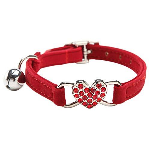 DAIXI Collares para Gatos con la Campana y del Cristal del corazón Suministros Linda del Animal doméstico Rojo