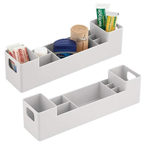 mDesign 2er-Set Medikamentenbox mit Griffen fürs Badregal – stapelbare Badablage mit 7 Fächern für Pflaster oder ätherische Öle – Medizinschrank aus BPA-freiem Kunststoff – hellgrau