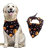 HQdeal Dog Bandana, Halloween Pet Bandanas,Pumpkin Pet Scarf Neckerchief, cat bib, Reversible Triangle Dog Scarf for Halloween, christmas, Thanksgiving (black)