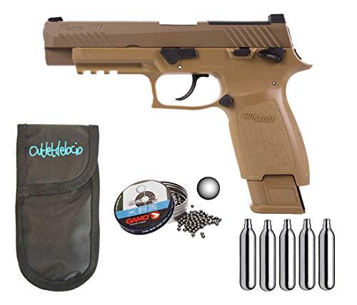 Outletdelocio.. Pistola perdigon Sig Sauer M17 ASP Co2 4,5mm. Blowback. + Funda Portabombonas + Balines + Bombonas co2. 23054/29318/50523