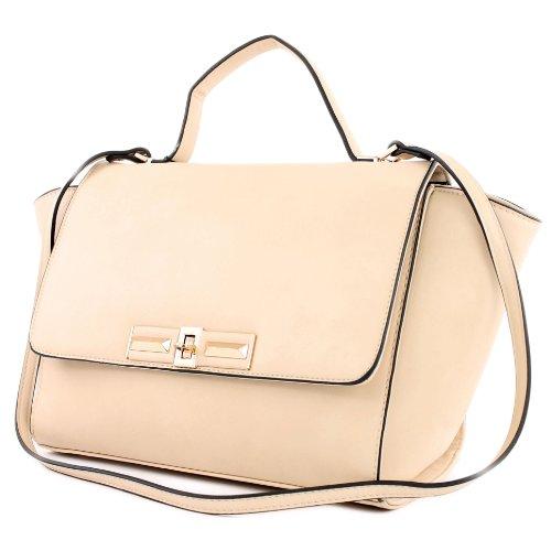 LOOKAT - Handtasche aus Lederimitat LK1121, Farbe:Vanille
